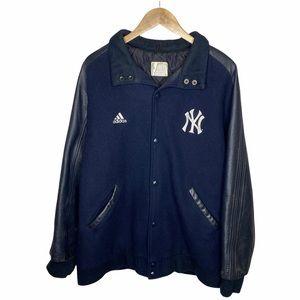 VINTAGE 90s Y2K New York Yankees X Adidas Navy Wool & Leather Varsity Jacket
